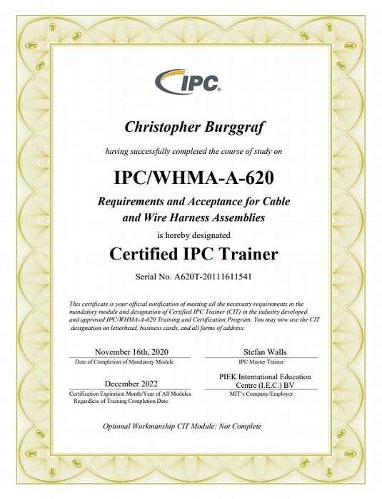 IPC/WHMA-A-620-Zertifikat für Christopher Burggraf im Unternehmen SATec