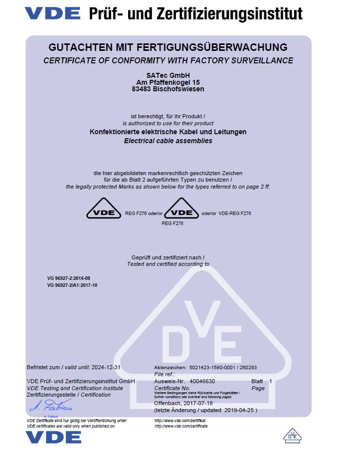 ISO9001-Zertifikat für das Unternehmen SATec 3 5