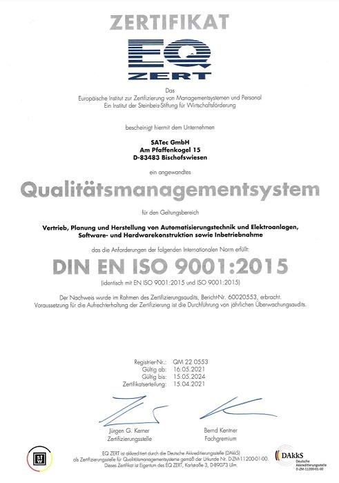 ISO9001-Zertifikat für das Unternehmen SATec